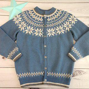 Vintage Dale of Norway Blue Cardigan Sweater